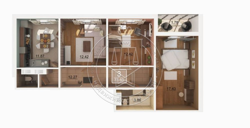 Продажа 3-к квартиры Александра Курынова ул, 11, корпус 2